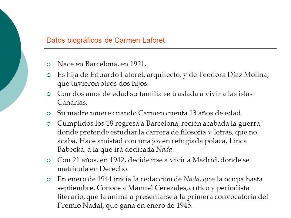 Datos biográficos de Carmen Laforet