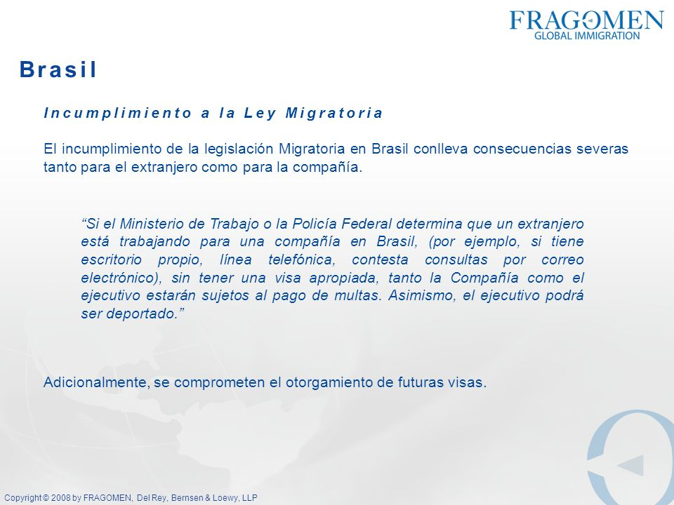 Brasil Incumplimiento a la Ley Migratoria