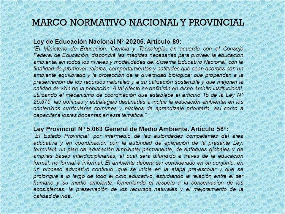 MARCO NORMATIVO NACIONAL Y PROVINCIAL