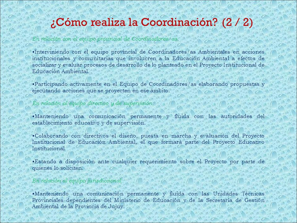 ¿Cómo realiza la Coordinación (2 / 2)