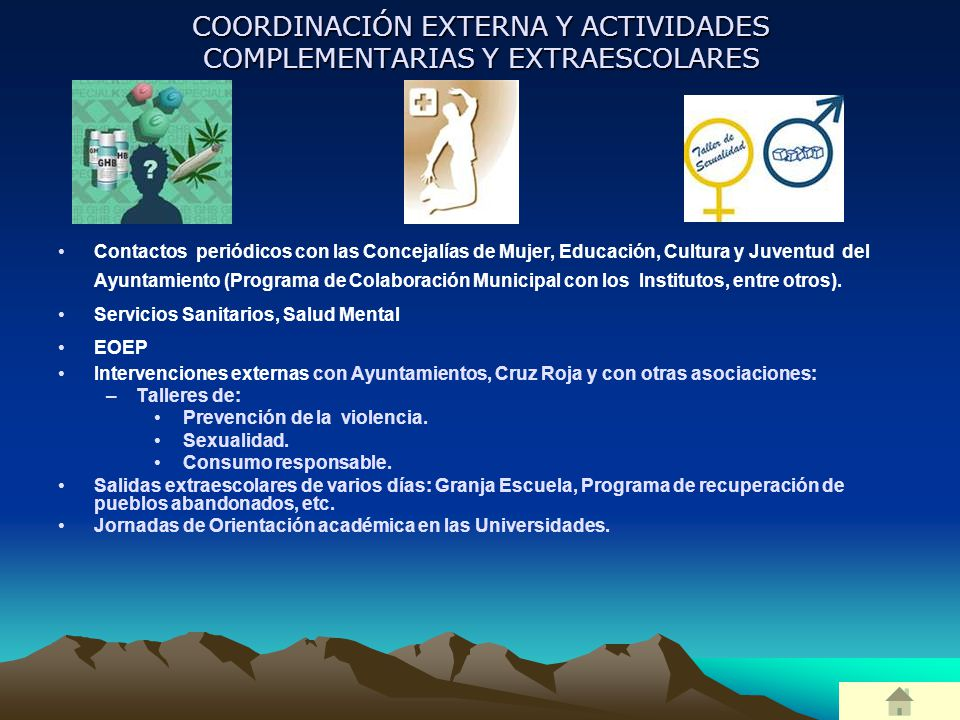 COORDINACIÓN EXTERNA Y ACTIVIDADES COMPLEMENTARIAS Y EXTRAESCOLARES