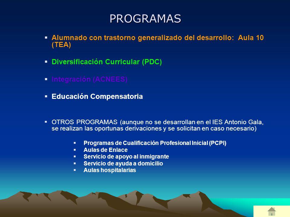 PROGRAMAS Alumnado con trastorno generalizado del desarrollo: Aula 10 (TEA) Diversificación Curricular (PDC)