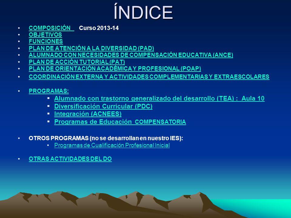 ÍNDICE COMPOSICIÓN Curso 2013-14. OBJETIVOS. FUNCIONES. PLAN DE ATENCIÓN A LA DIVERSIDAD (PAD)