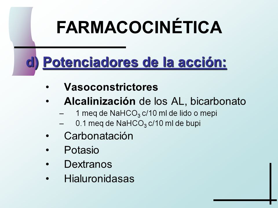 FARMACOCINÉTICA Potenciadores de la acción: Vasoconstrictores