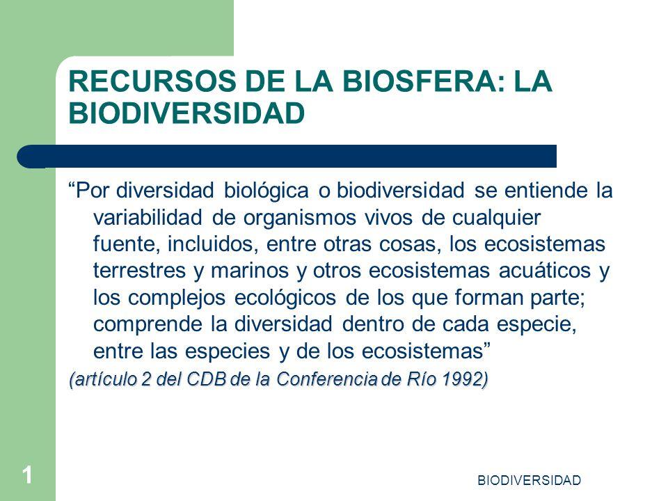 RECURSOS DE LA BIOSFERA: LA BIODIVERSIDAD