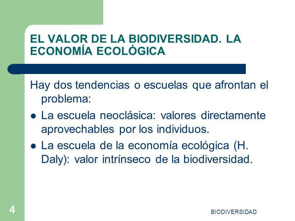 EL VALOR DE LA BIODIVERSIDAD. LA ECONOMÍA ECOLÓGICA