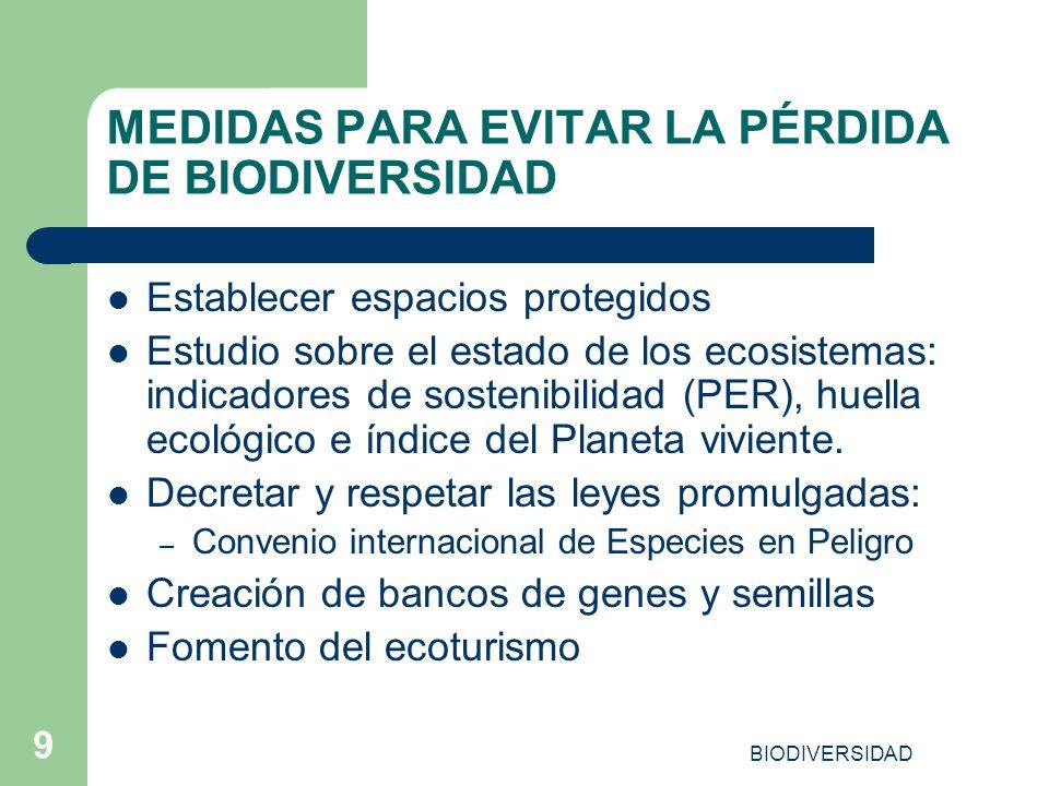 MEDIDAS PARA EVITAR LA PÉRDIDA DE BIODIVERSIDAD