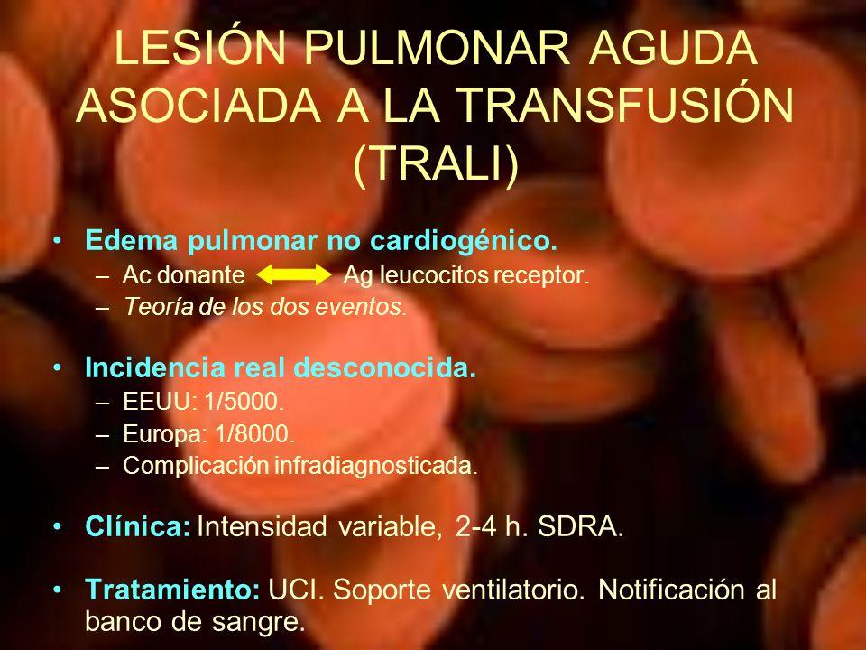LESIÓN PULMONAR AGUDA ASOCIADA A LA TRANSFUSIÓN (TRALI)