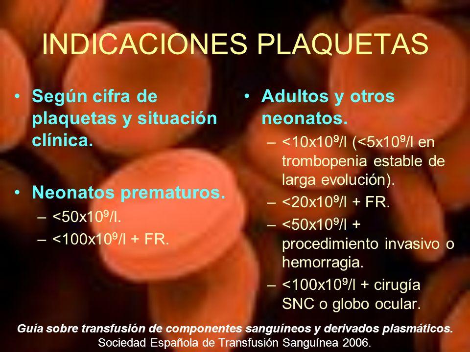 INDICACIONES PLAQUETAS