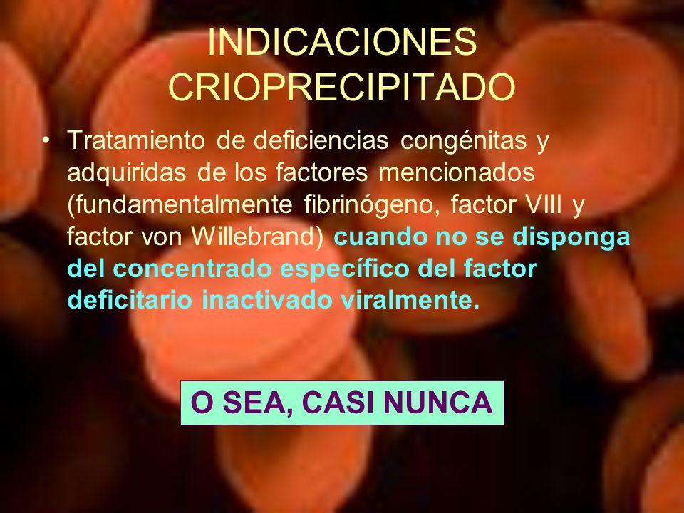INDICACIONES CRIOPRECIPITADO