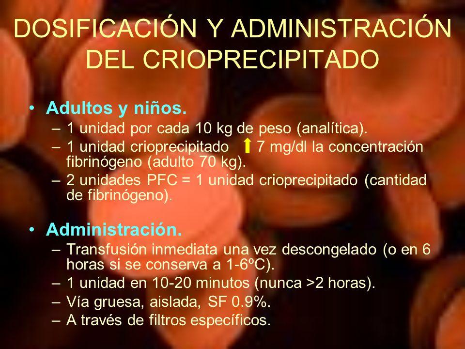 DOSIFICACIÓN Y ADMINISTRACIÓN DEL CRIOPRECIPITADO