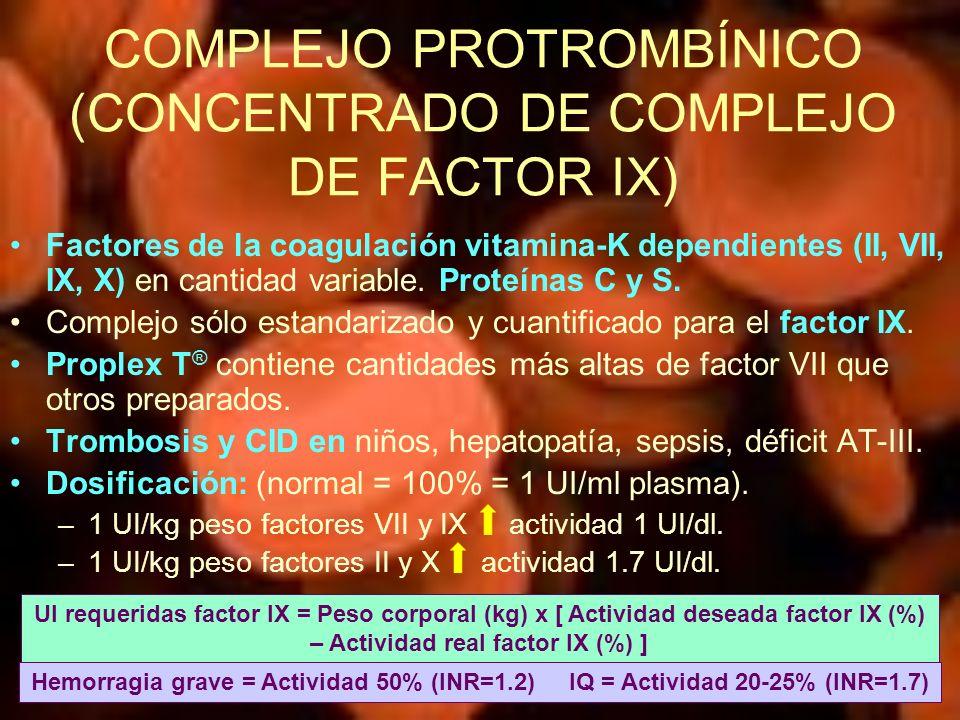 COMPLEJO PROTROMBÍNICO (CONCENTRADO DE COMPLEJO DE FACTOR IX)
