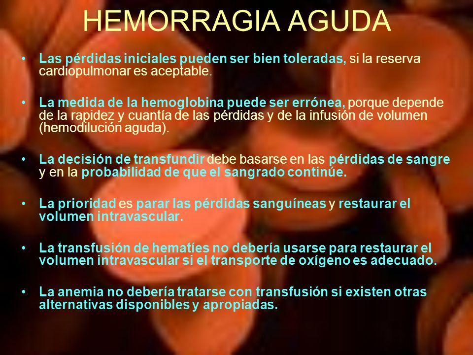 HEMORRAGIA AGUDA Las pérdidas iniciales pueden ser bien toleradas, si la reserva cardiopulmonar es aceptable.
