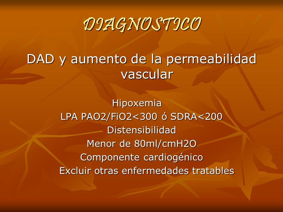 DIAGNOSTICO DAD y aumento de la permeabilidad vascular Hipoxemia