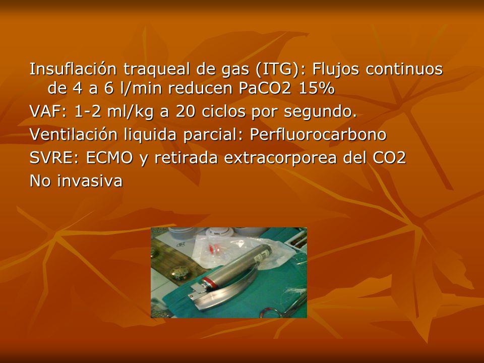 Insuflación traqueal de gas (ITG): Flujos continuos de 4 a 6 l/min reducen PaCO2 15%