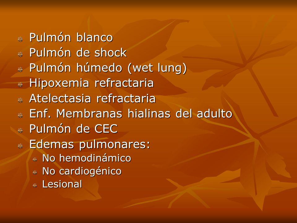 Pulmón húmedo (wet lung) Hipoxemia refractaria Atelectasia refractaria