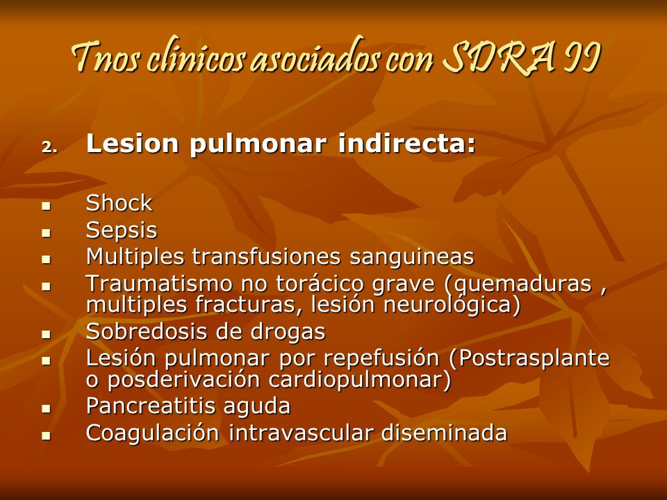 Tnos clinicos asociados con SDRA II