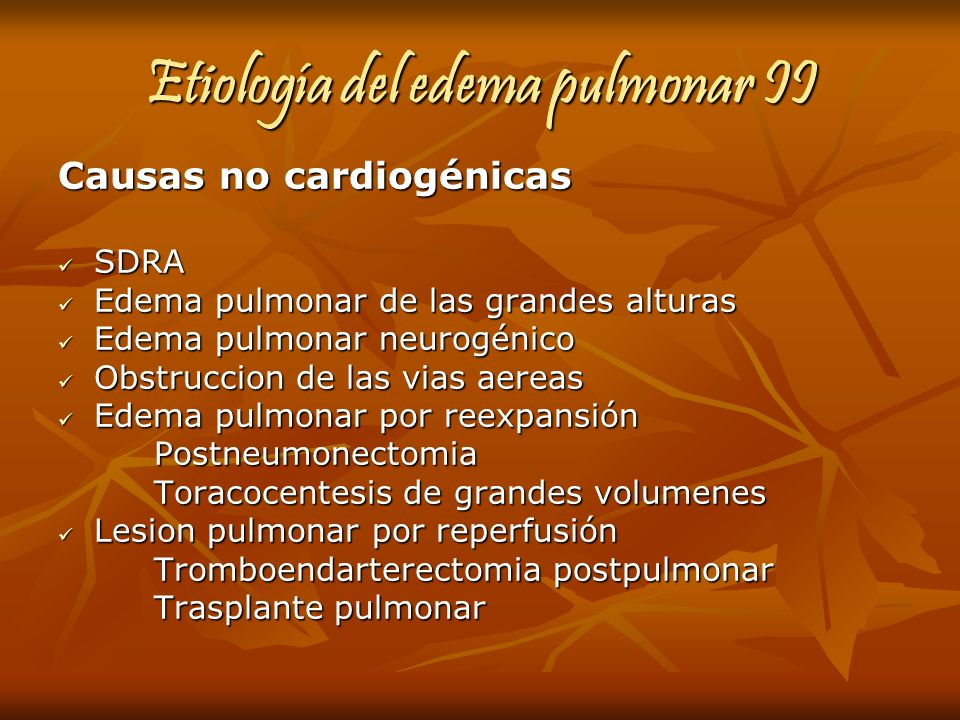 Etiología del edema pulmonar II