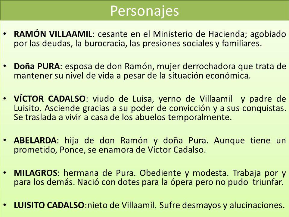 Personajes RAMÓN VILLAAMIL: cesante en el Ministerio de Hacienda; agobiado por las deudas, la burocracia, las presiones sociales y familiares.