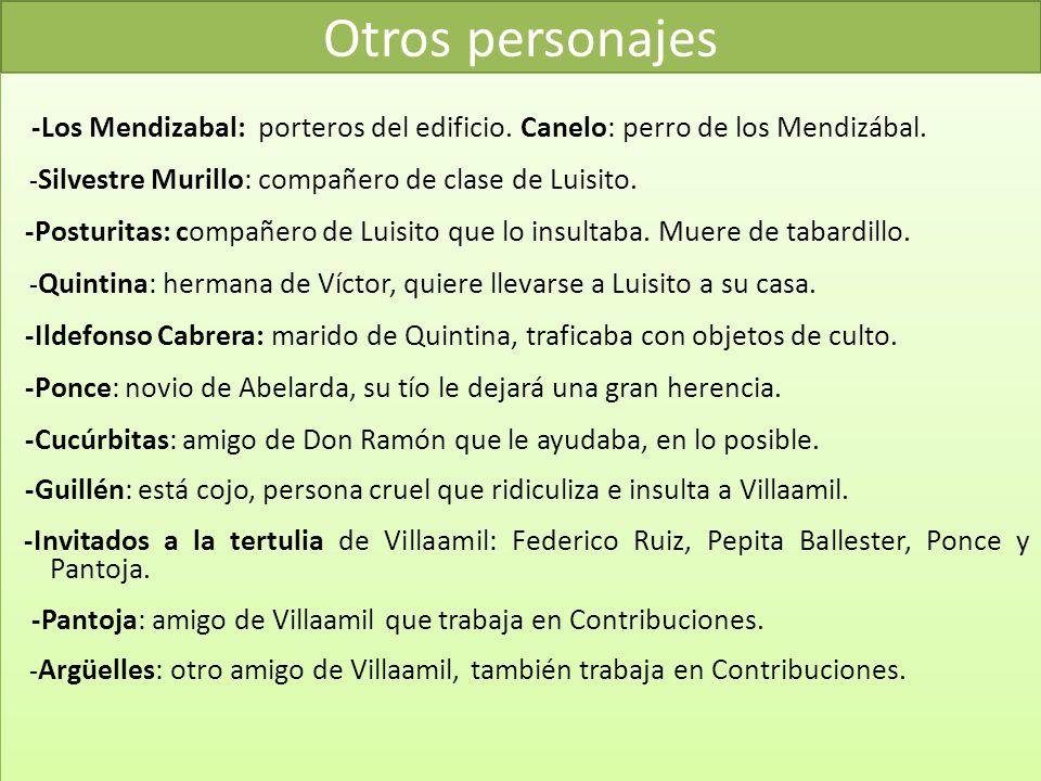 Otros personajes -Los Mendizabal: porteros del edificio. Canelo: perro de los Mendizábal. -Silvestre Murillo: compañero de clase de Luisito.