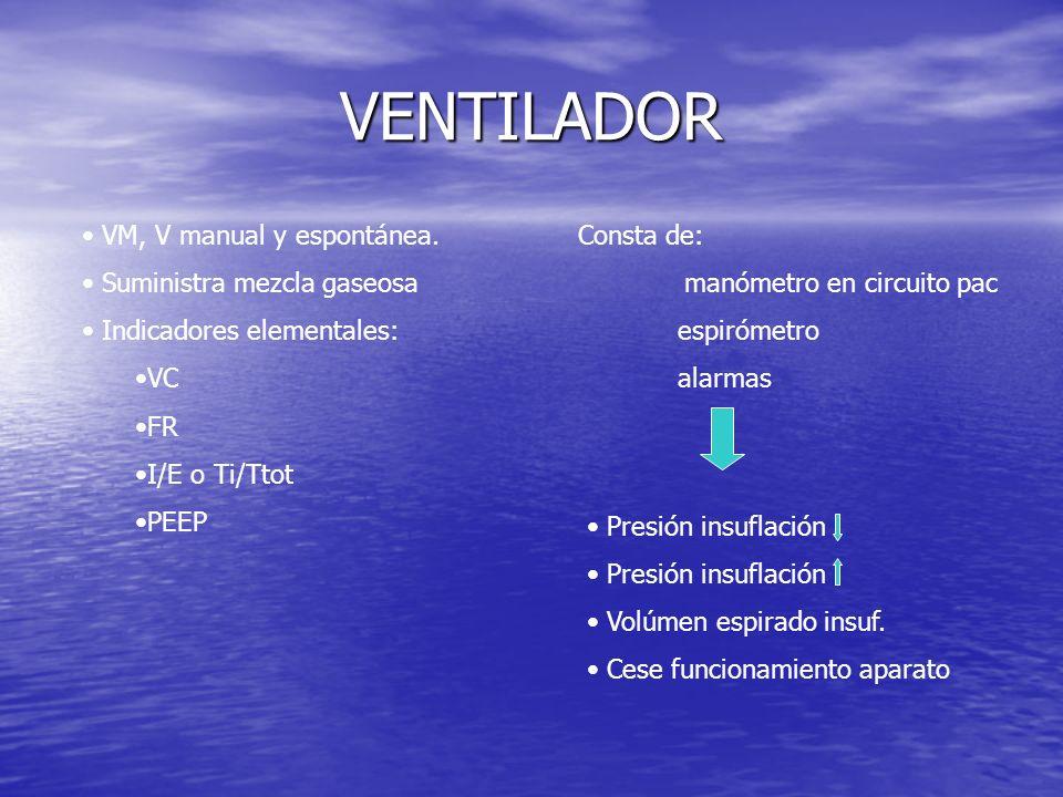 VENTILADOR VM, V manual y espontánea. Suministra mezcla gaseosa