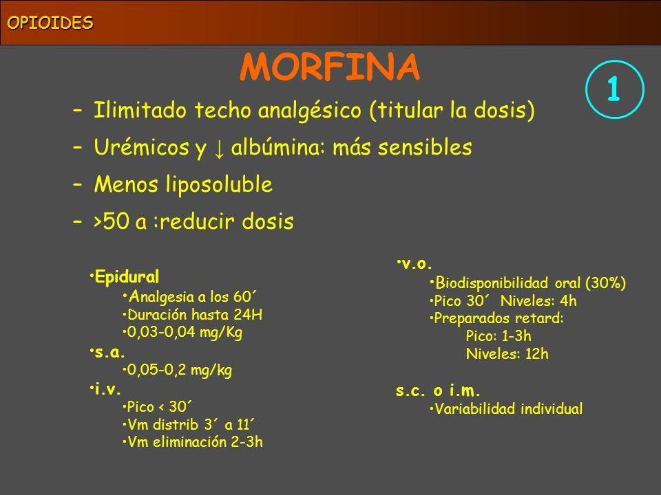 MORFINA 1 Ilimitado techo analgésico (titular la dosis)