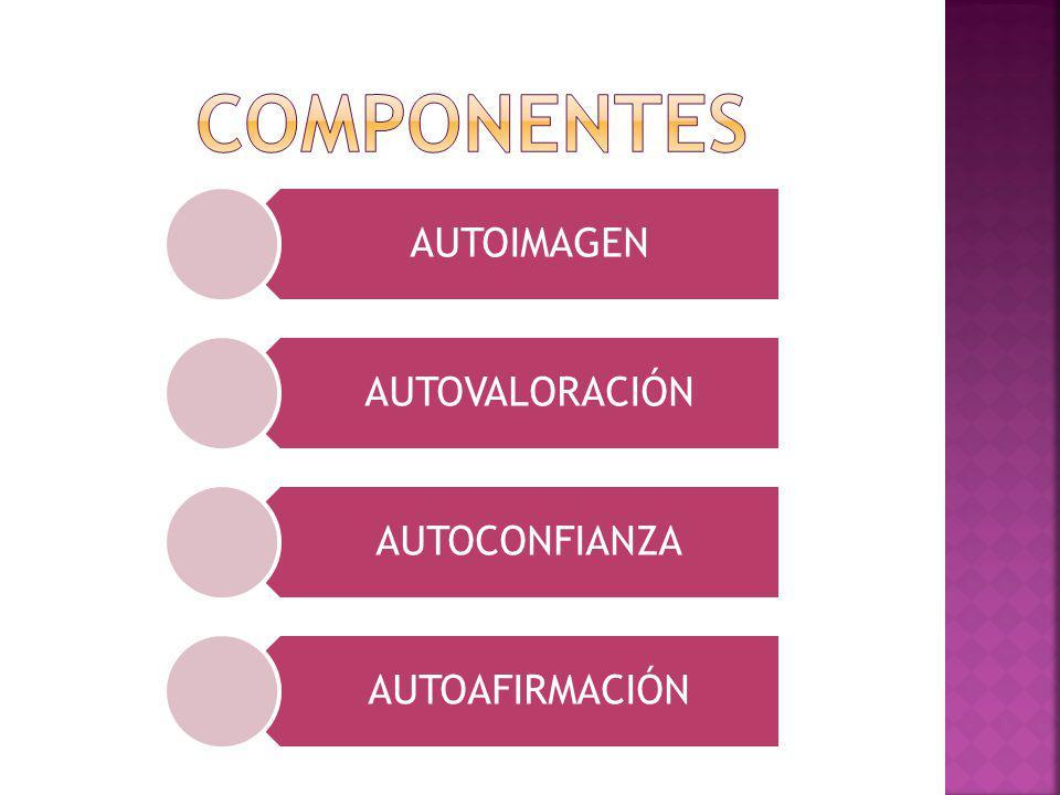 componentes AUTOIMAGEN AUTOVALORACIÓN AUTOCONFIANZA AUTOAFIRMACIÓN