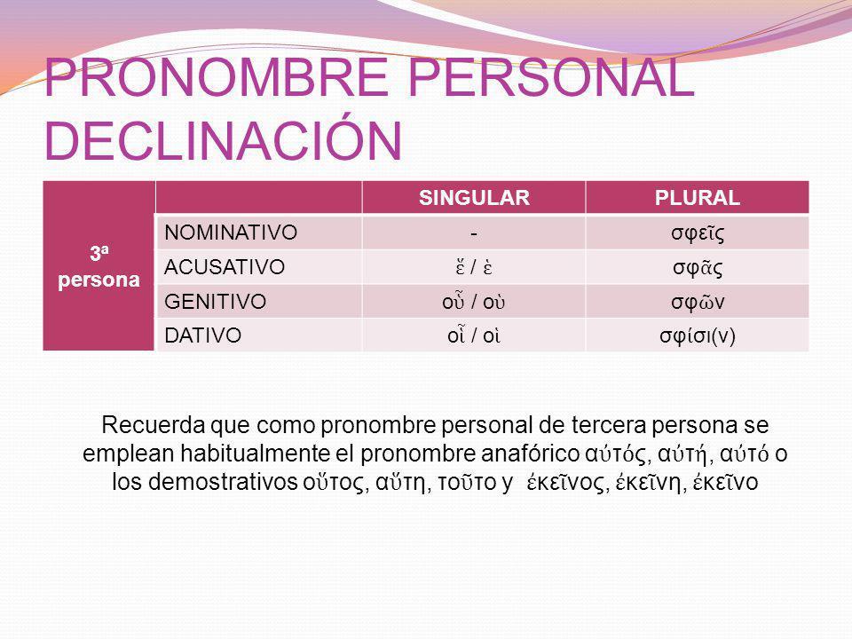 PRONOMBRE PERSONAL DECLINACIÓN