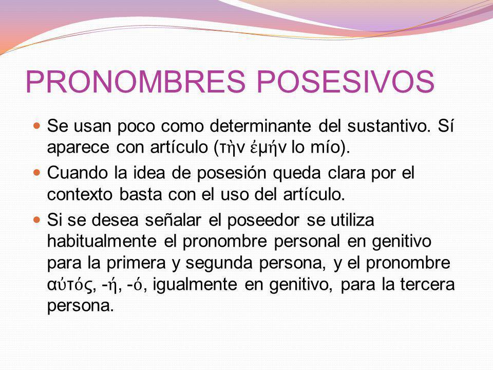 PRONOMBRES POSESIVOS Se usan poco como determinante del sustantivo. Sí aparece con artículo (τὴν ἐμήν lo mío).