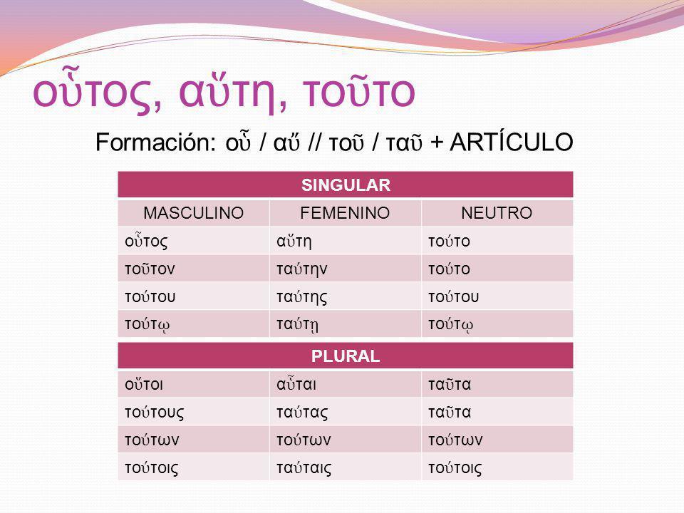 Formación: οὗ / αὔ // τοῦ / ταῦ + ARTÍCULO