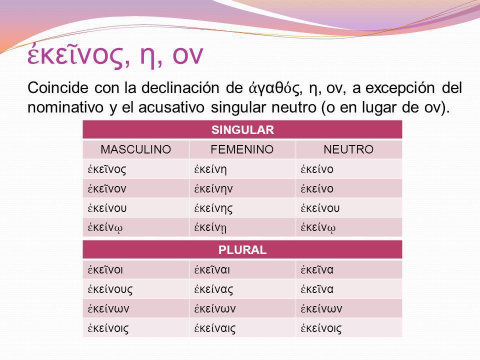 ἐκεῖνος, η, ον Coincide con la declinación de ἀγαθός, η, ον, a excepción del nominativo y el acusativo singular neutro (ο en lugar de ον).