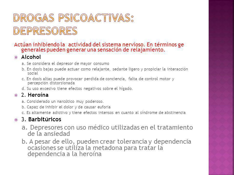 Drogas psicoactivas: depresores