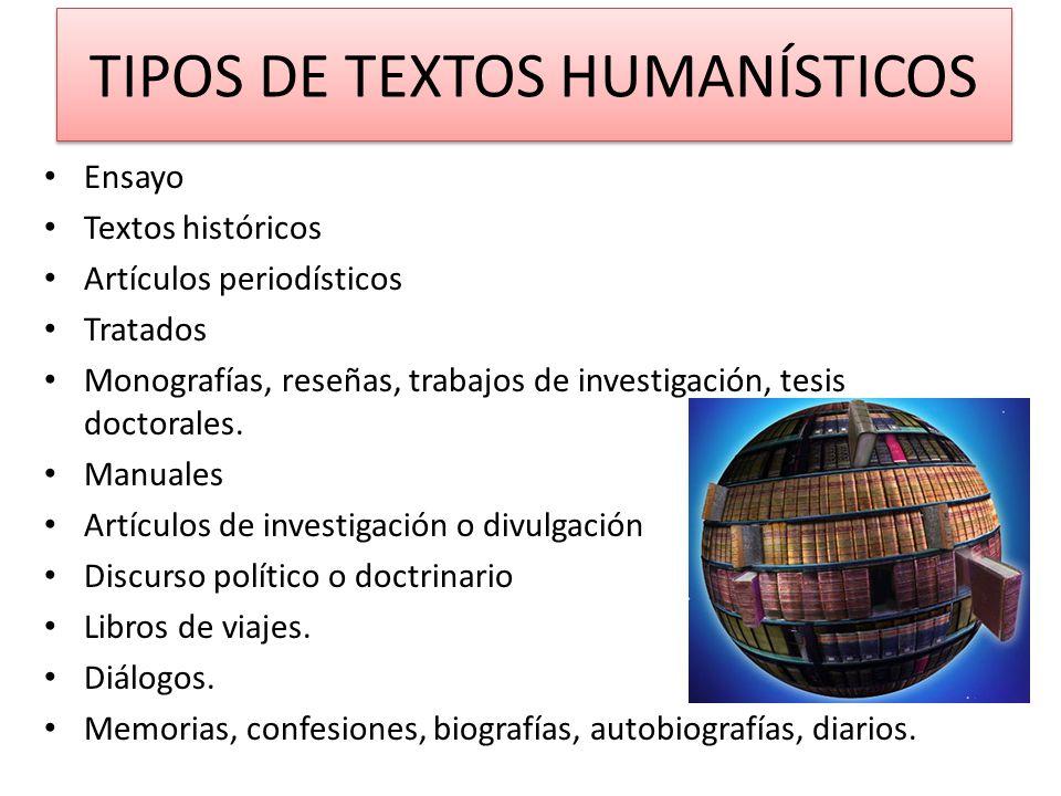 TIPOS DE TEXTOS HUMANÍSTICOS