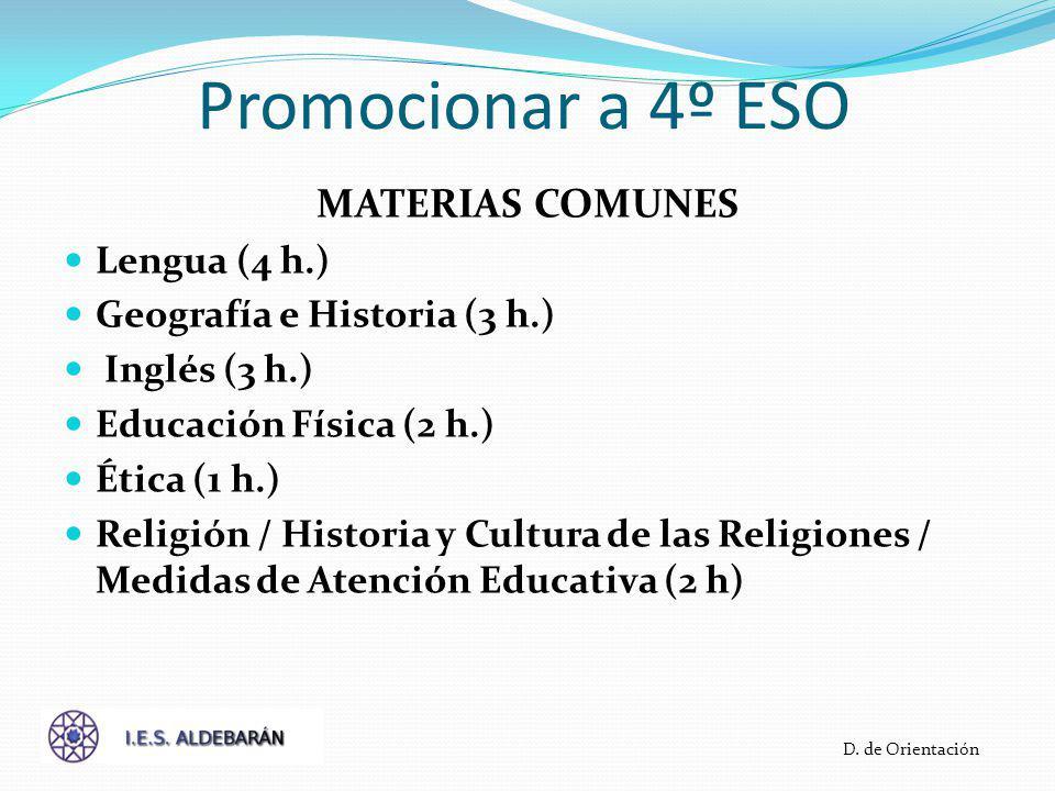 Promocionar a 4º ESO MATERIAS COMUNES Lengua (4 h.)