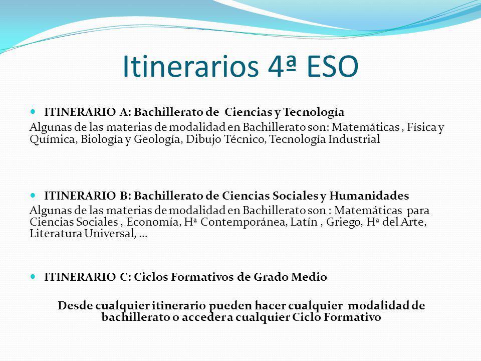 Itinerarios 4ª ESO ITINERARIO A: Bachillerato de Ciencias y Tecnología