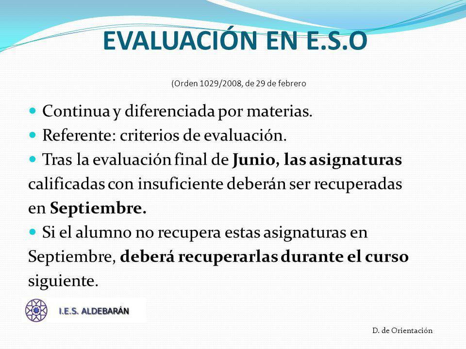 EVALUACIÓN EN E.S.O (Orden 1029/2008, de 29 de febrero