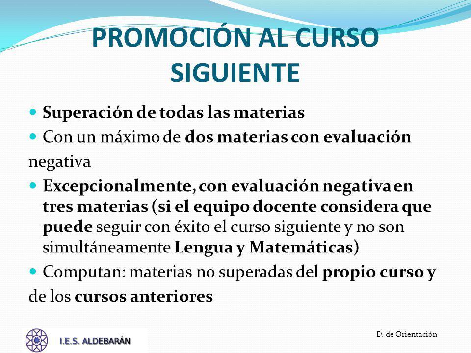 PROMOCIÓN AL CURSO SIGUIENTE