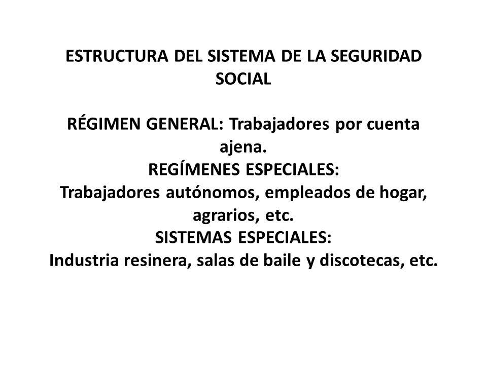 ESTRUCTURA DEL SISTEMA DE LA SEGURIDAD SOCIAL RÉGIMEN GENERAL: Trabajadores por cuenta ajena.