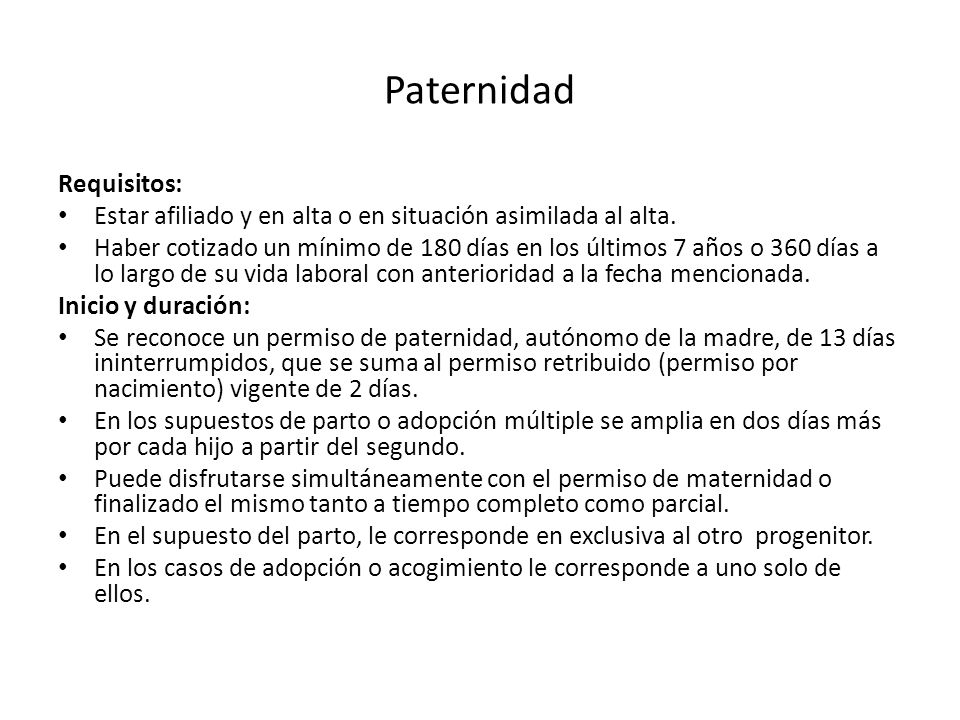 Paternidad Requisitos: