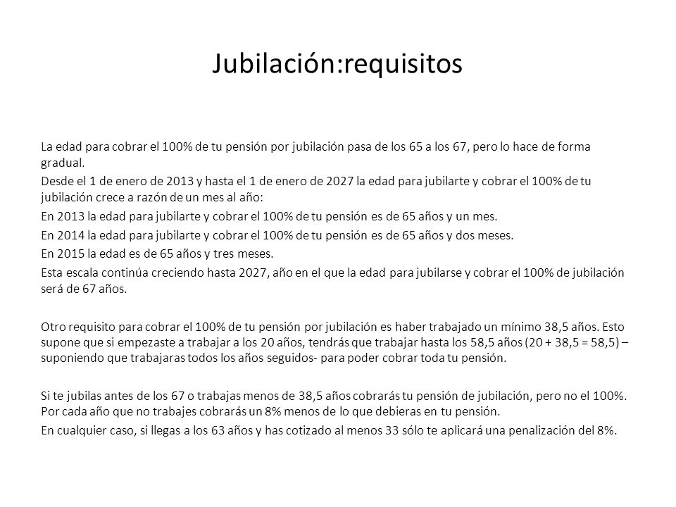 Jubilación:requisitos