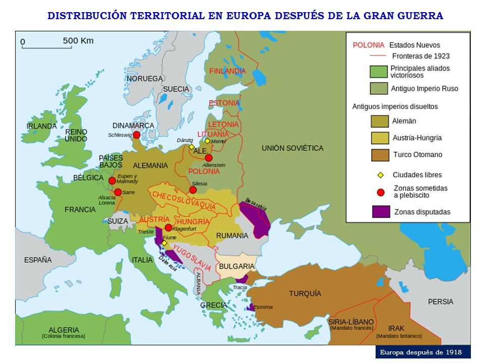 DISTRIBUCIÓN TERRITORIAL EN EUROPA DESPUÉS DE LA GRAN GUERRA