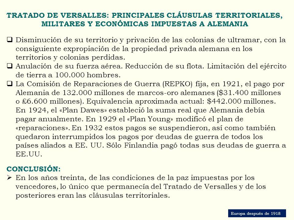 TRATADO DE VERSALLES: PRINCIPALES CLÁUSULAS TERRITORIALES, MILITARES Y ECONÓMICAS IMPUESTAS A ALEMANIA