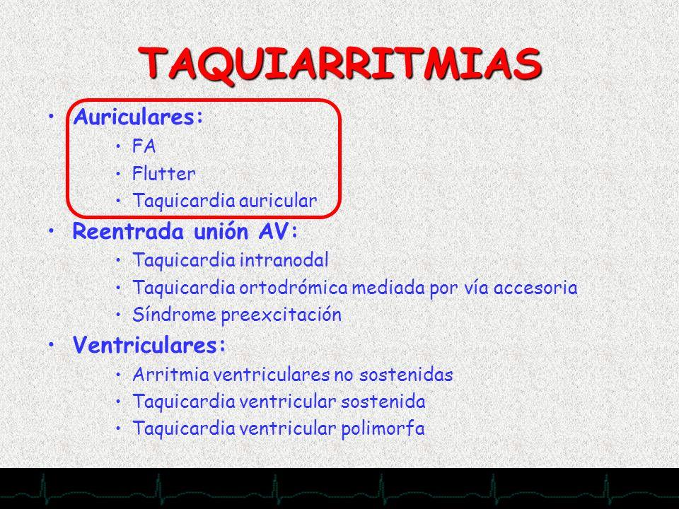 TAQUIARRITMIAS Auriculares: Reentrada unión AV: Ventriculares: FA