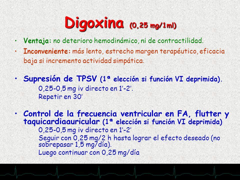Digoxina (0,25 mg/1ml)Ventaja: no deterioro hemodinámico, ni de contractilidad.