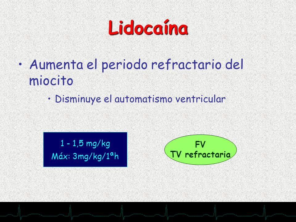 Lidocaína Aumenta el periodo refractario del miocito