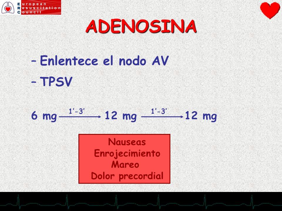 ADENOSINA Enlentece el nodo AV TPSV 6 mg 12 mg 12 mg Nauseas