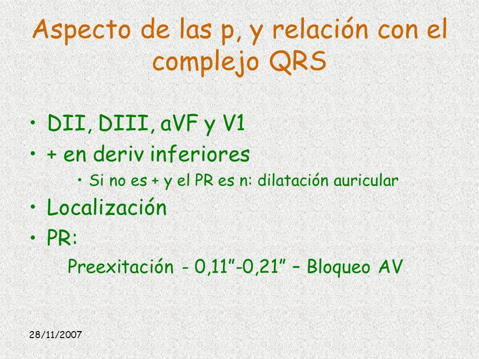 Aspecto de las p, y relación con el complejo QRS