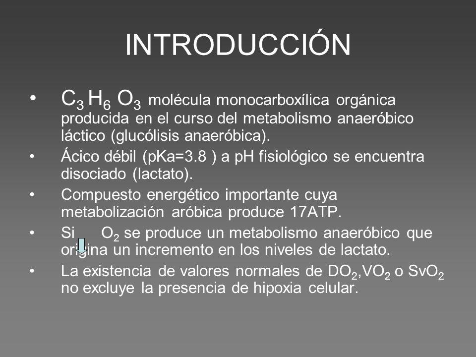 INTRODUCCIÓN C3 H6 O3 molécula monocarboxílica orgánica producida en el curso del metabolismo anaeróbico láctico (glucólisis anaeróbica).