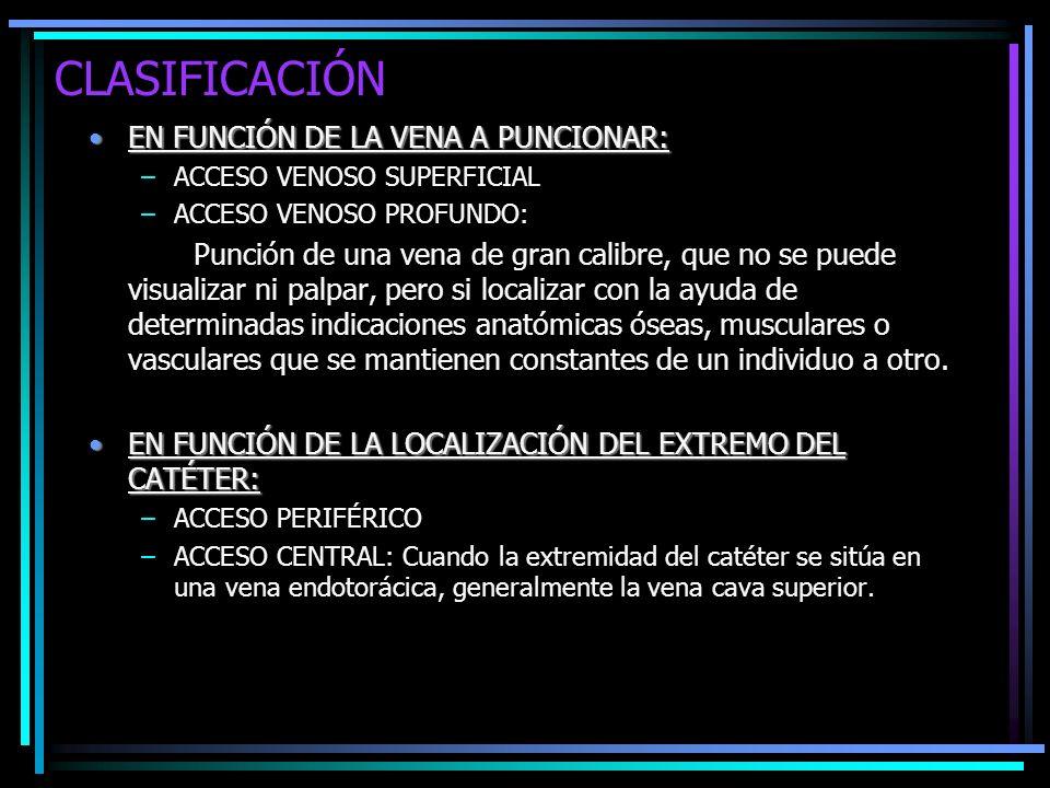 CLASIFICACIÓN EN FUNCIÓN DE LA VENA A PUNCIONAR: