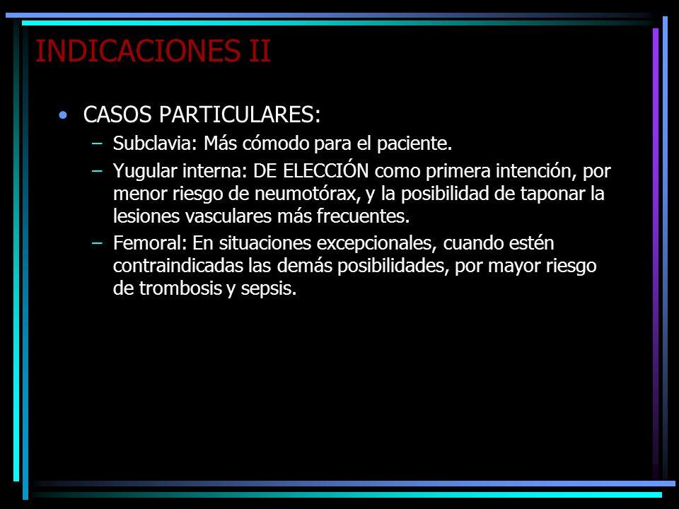 INDICACIONES II CASOS PARTICULARES: